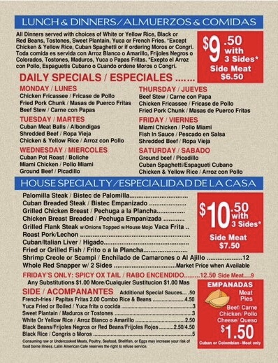 Daily Specials for Cuban Food in Ocala, FL